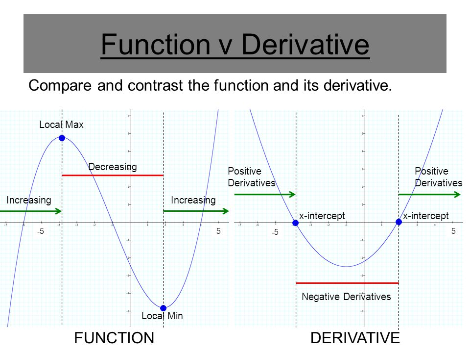 Function v Derivative Compare and contrast the function and its derivative.