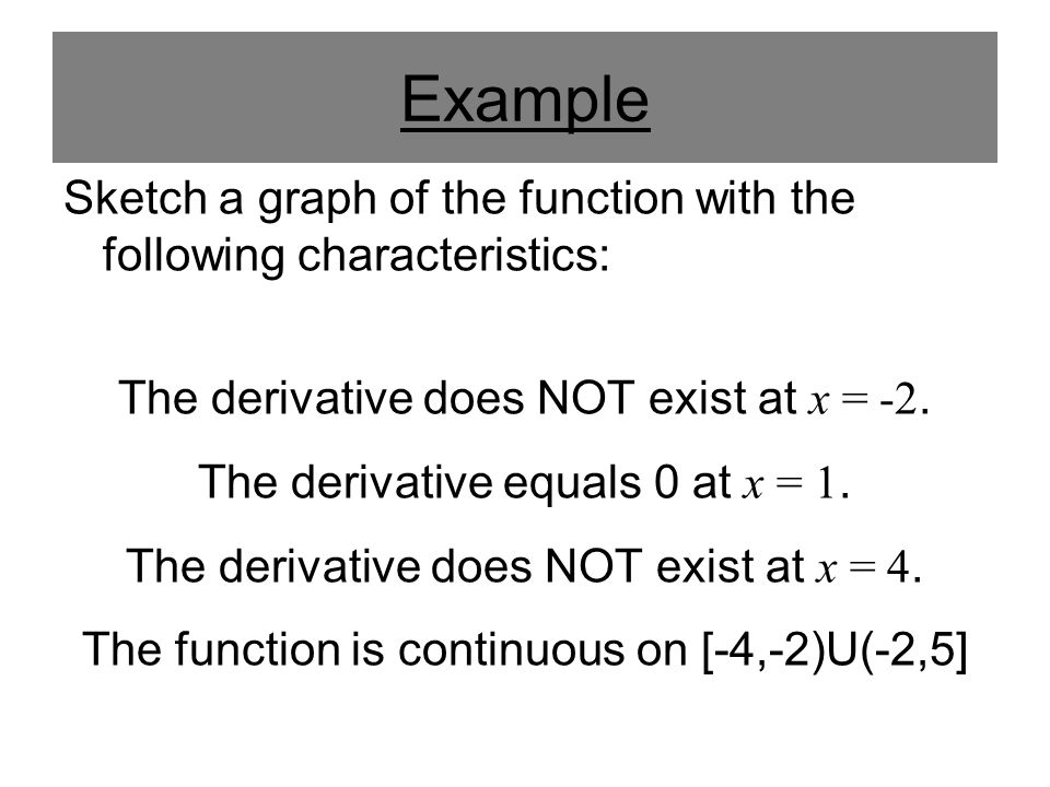 Example Sketch a graph of the function with the following characteristics: The derivative does NOT exist at x = -2. The derivative equals 0 at x = 1.