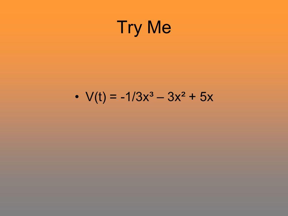 Try Me V(t) = -1/3x³ – 3x² + 5x