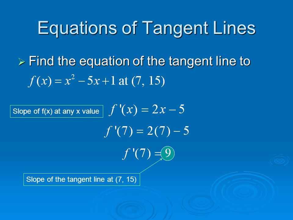 Equations of Tangent Lines We now have the slope and a point.