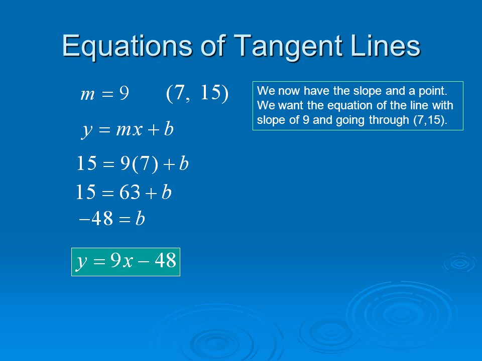 Equations of Tangent Lines  Find the equation of the tangent line to