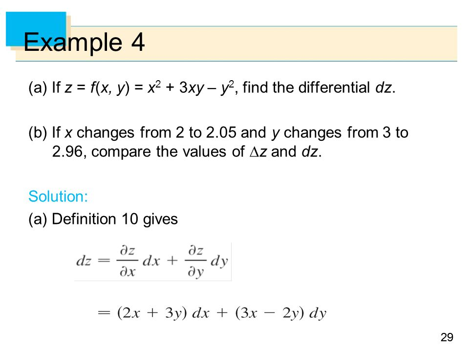 29 Example 4 (a) If z = f (x, y) = x 2 + 3xy – y 2, find the differential dz.
