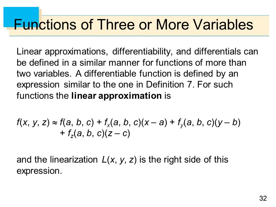 32 Functions of Three or More Variables Linear approximations, differentiability, and differentials can be defined in a similar manner for functions of more than two variables.
