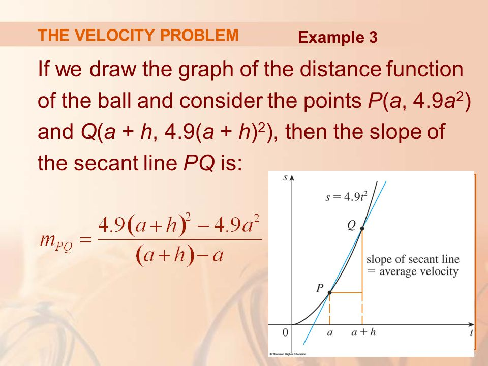 THE VELOCITY PROBLEM If we draw the graph of the distance function of the ball and consider the points P(a, 4.9a 2 ) and Q(a + h, 4.9(a + h) 2 ), then the slope of the secant line PQ is: Example 3