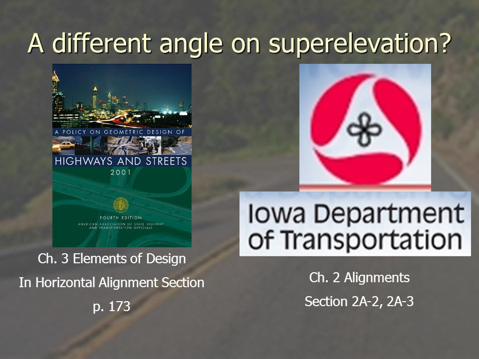 Axis of Rotation 1.Rotate pavement about centerline 2.Rotate about inner edge of pavement 3.Rotate about outside edge of pavement 4.Rotate about center of median (Divided)