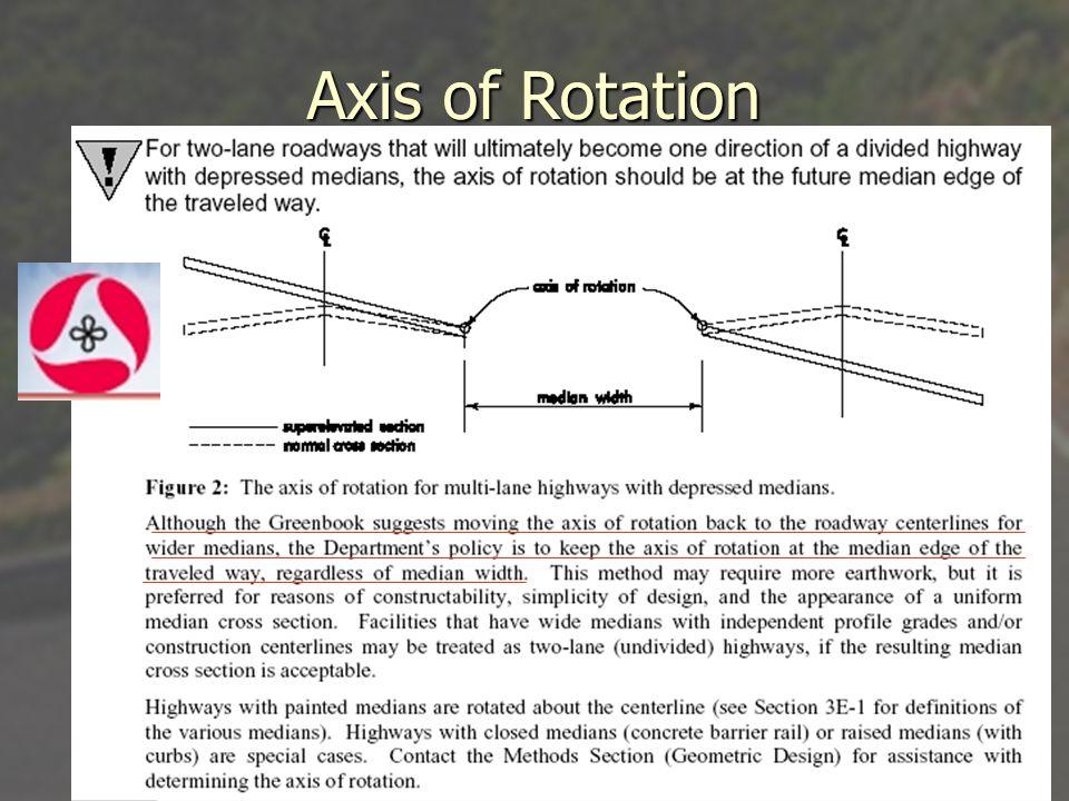 Superelevation Profile Two-Lane Highway – Centerline Rotation