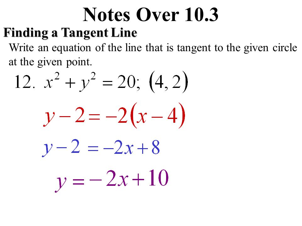 Notes Over 10.3 Finding a Tangent Line Write an equation of the line that is tangent to the given circle at the given point.