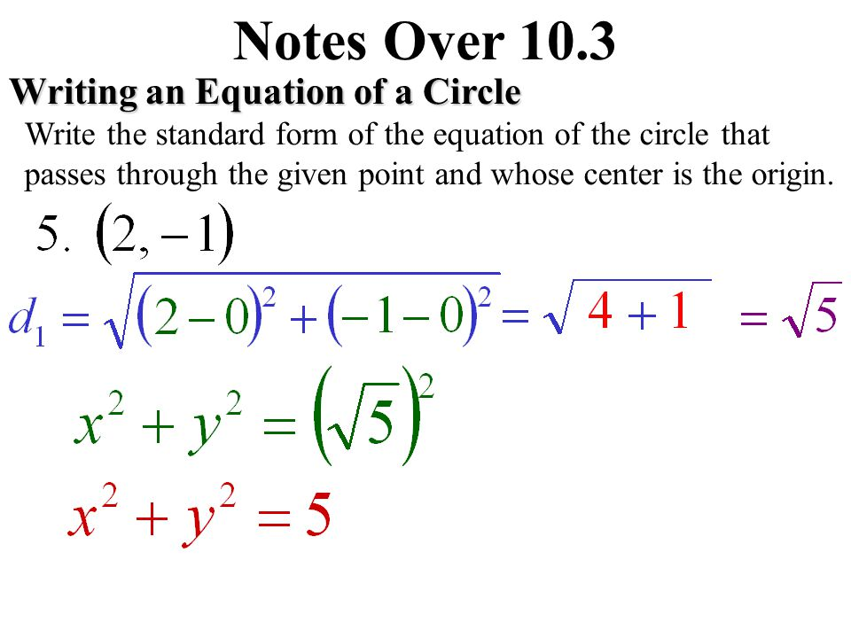 Notes Over 10.3 Graphing an Equation of a Circle Graph the equation. Give the radius of the circle.