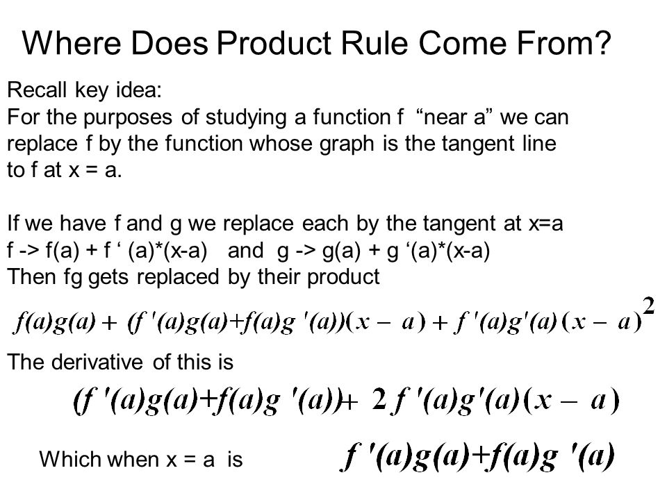 More Derivative Rules ( ) ' = ( )' ' 4. Quotient Rule 5. Power Rule