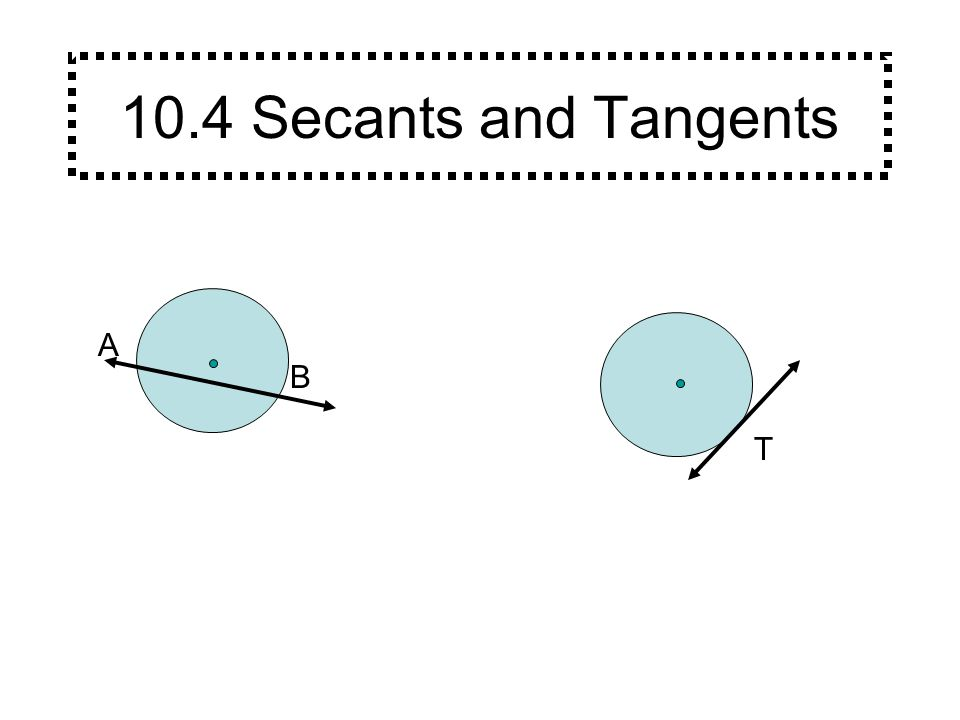 A B A secant is a line that intersects a circle at exactly two points.