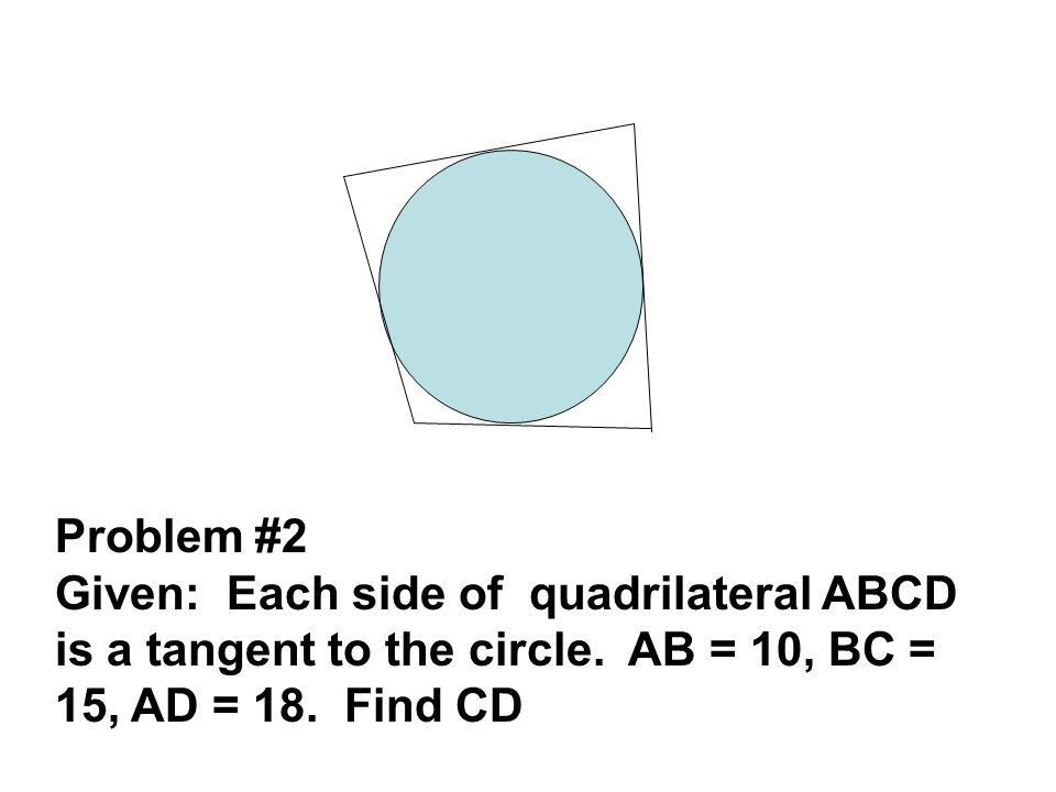 Problem #2 Given: Each side of quadrilateral ABCD is a tangent to the circle. AB = 10, BC = 15, AD = 18. Find CD
