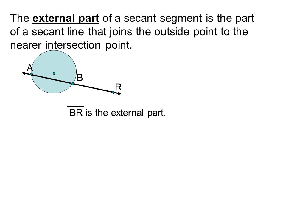 The external part of a secant segment is the part of a secant line that joins the outside point to the nearer intersection point. A B R BR is the exte