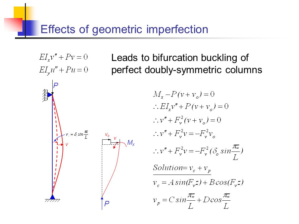 Effects of geometric imperfection Leads to bifurcation buckling of perfect doubly-symmetric columns P v v vovo P MxMx