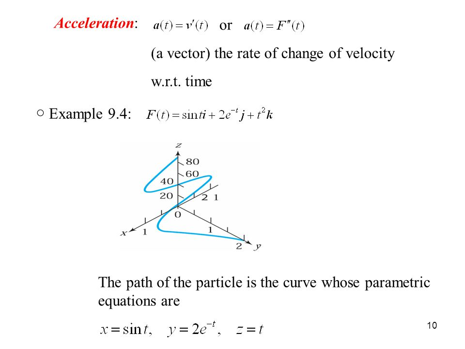 10 Acceleration: or (a vector) the rate of change of velocity w.r.t.