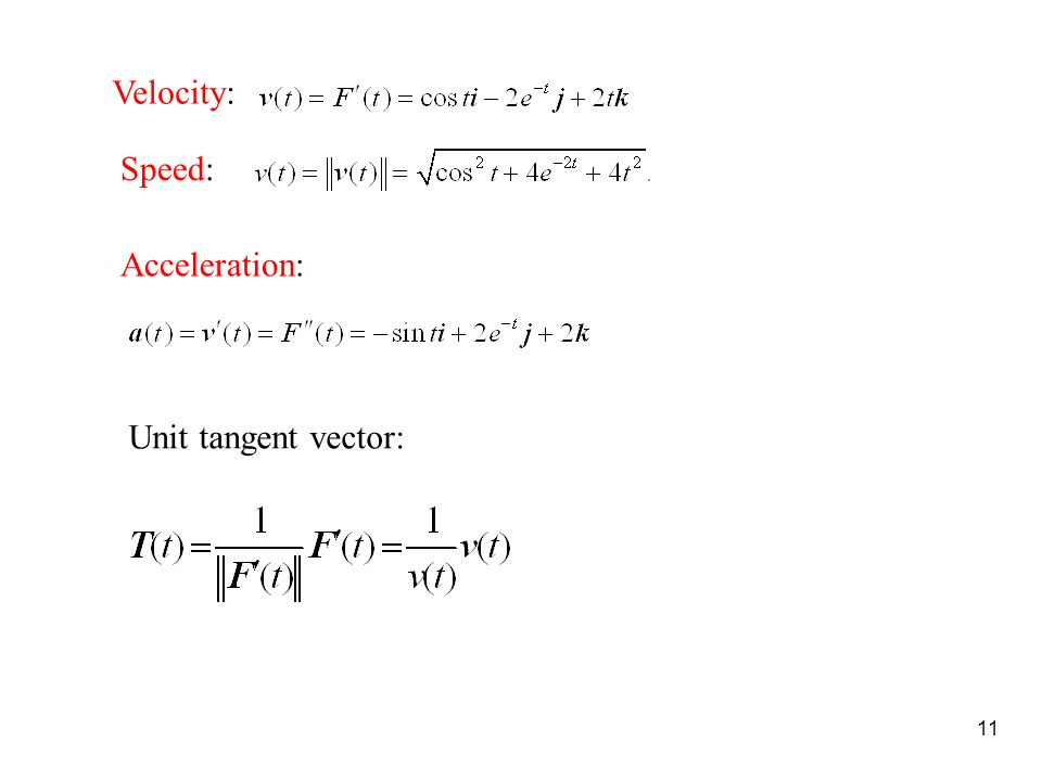 11 Velocity: Speed: Acceleration: Unit tangent vector: