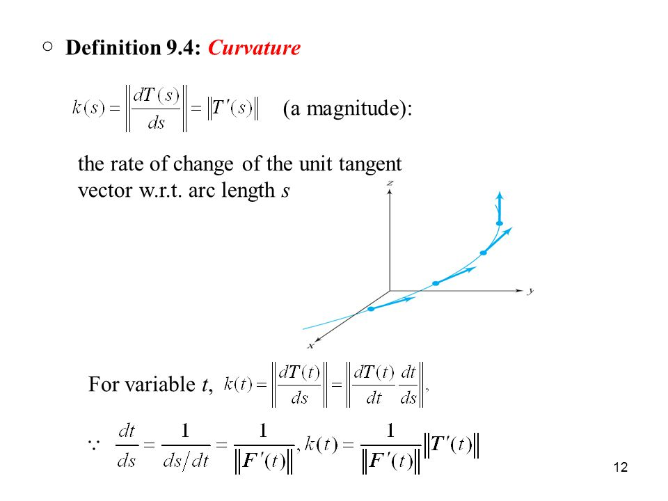 12 ○ Definition 9.4: Curvature (a magnitude): the rate of change of the unit tangent vector w.r.t.