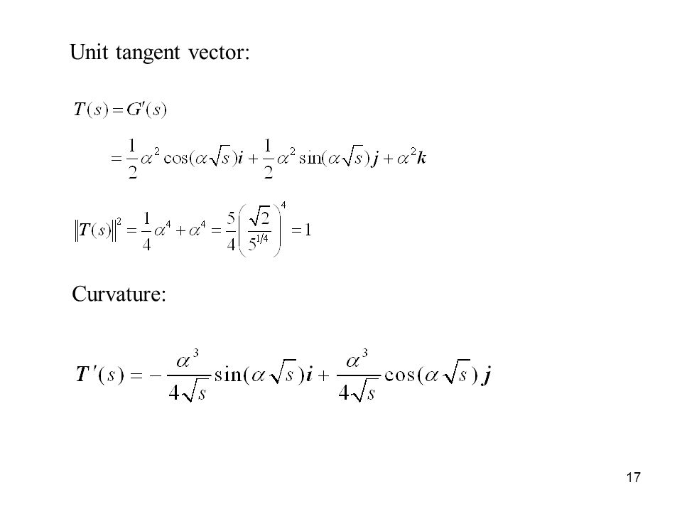 17 Unit tangent vector: Curvature: