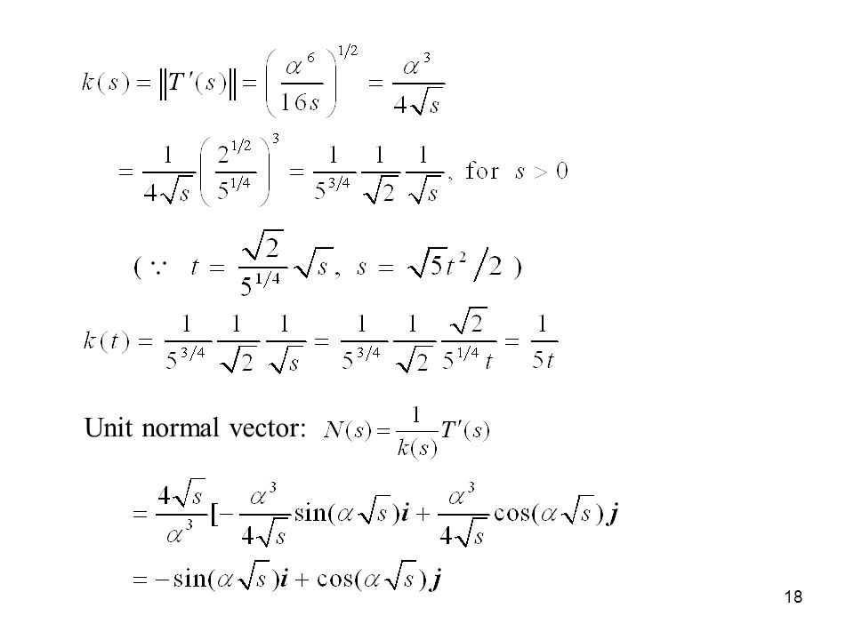 18 Unit normal vector: