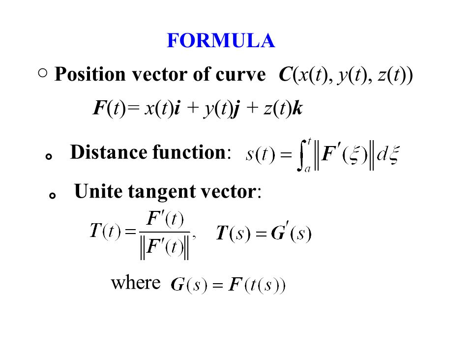 FORMULA ○ Position vector of curve F(t)= x(t)i + y(t)j + z(t)k 。 Distance function: 。 Unite tangent vector: where C(x(t), y(t), z(t))