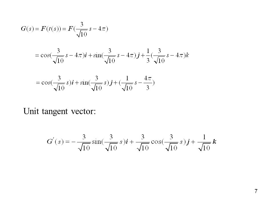 7 Unit tangent vector: