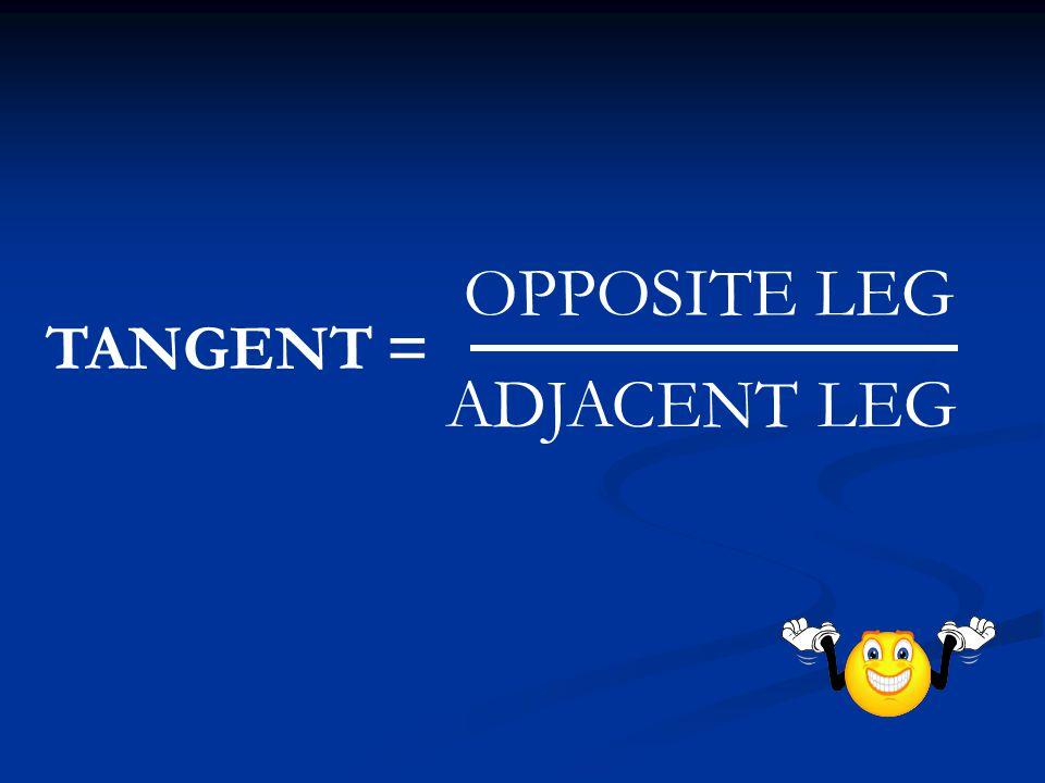 TANGENT = OPPOSITE LEG ADJACENT LEG