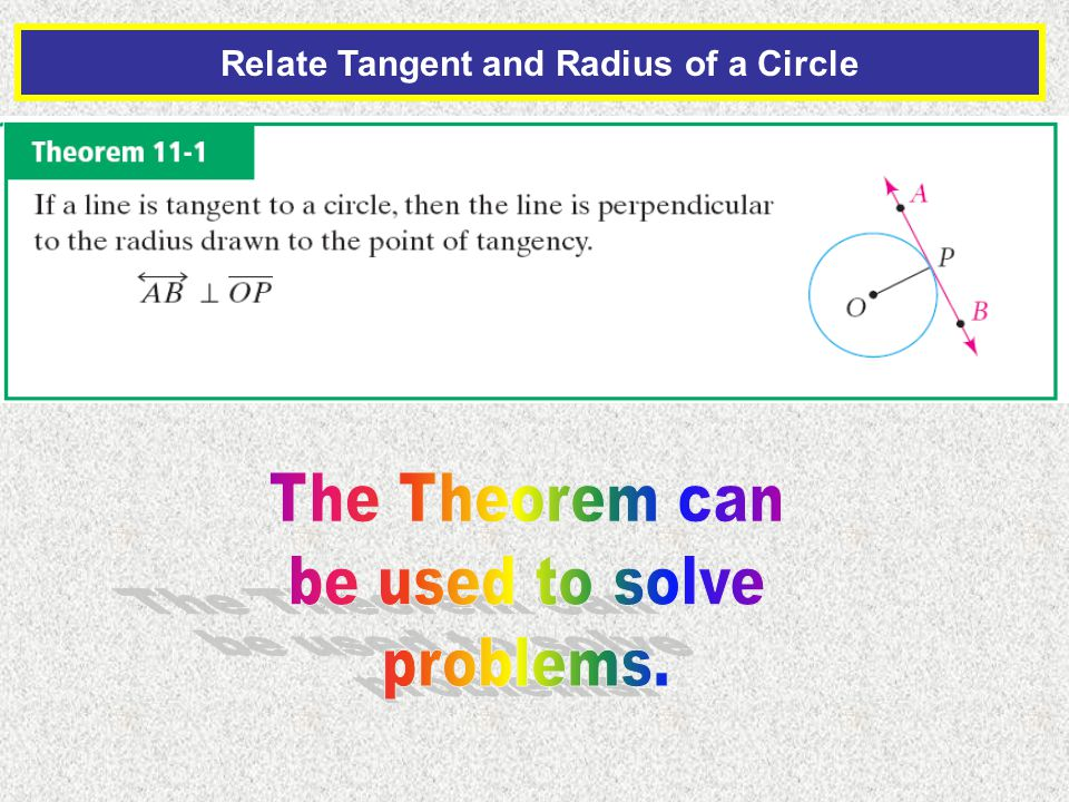 Relate Tangent and Radius of a Circle