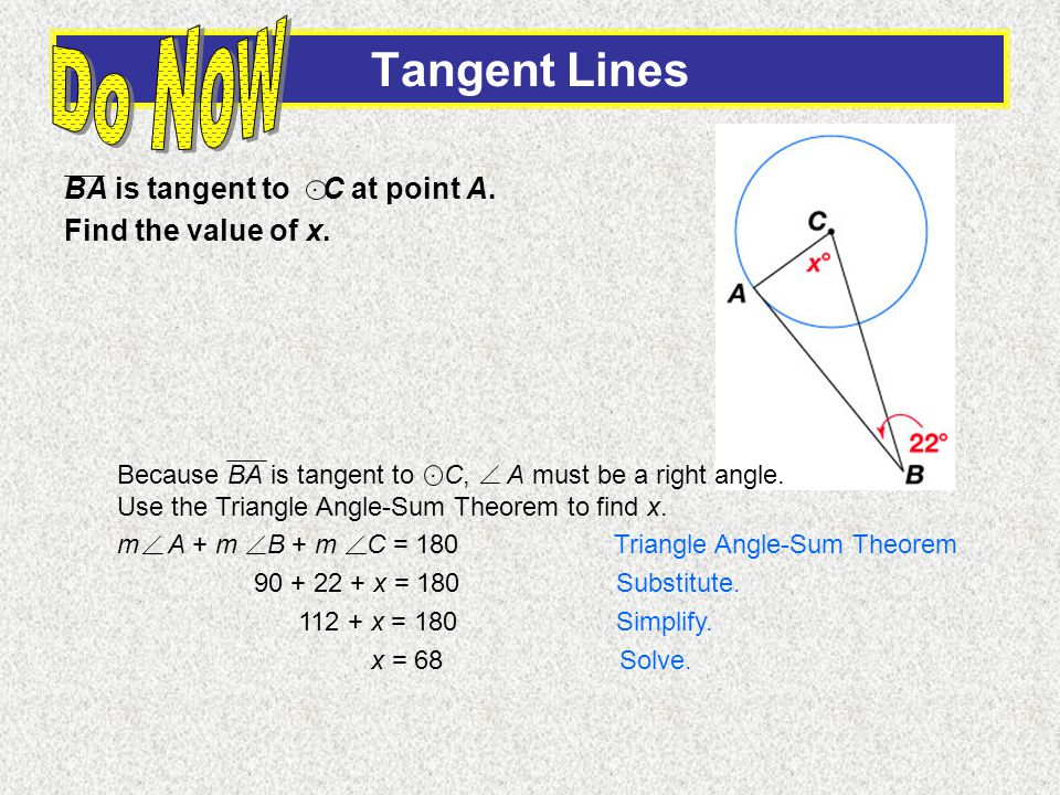BA is tangent to C at point A. Find the value of x..