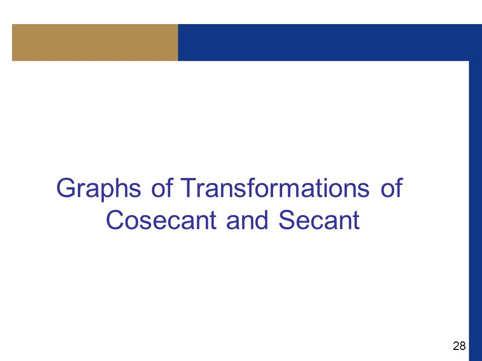 28 Graphs of Transformations of Cosecant and Secant