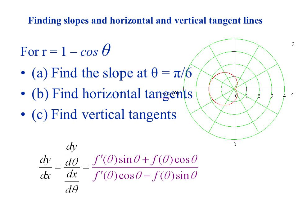 Finding slopes and horizontal and vertical tangent lines For r = 1 – cos θ (a) Find the slope at θ = π/6 (b) Find horizontal tangents (c) Find vertica