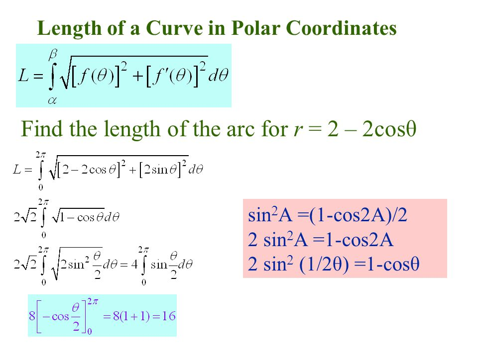 Length of a Curve in Polar Coordinates Find the length of the arc for r = 2 – 2cosθ sin 2 A =(1-cos2A)/2 2 sin 2 A =1-cos2A 2 sin 2 (1/2θ) =1-cosθ