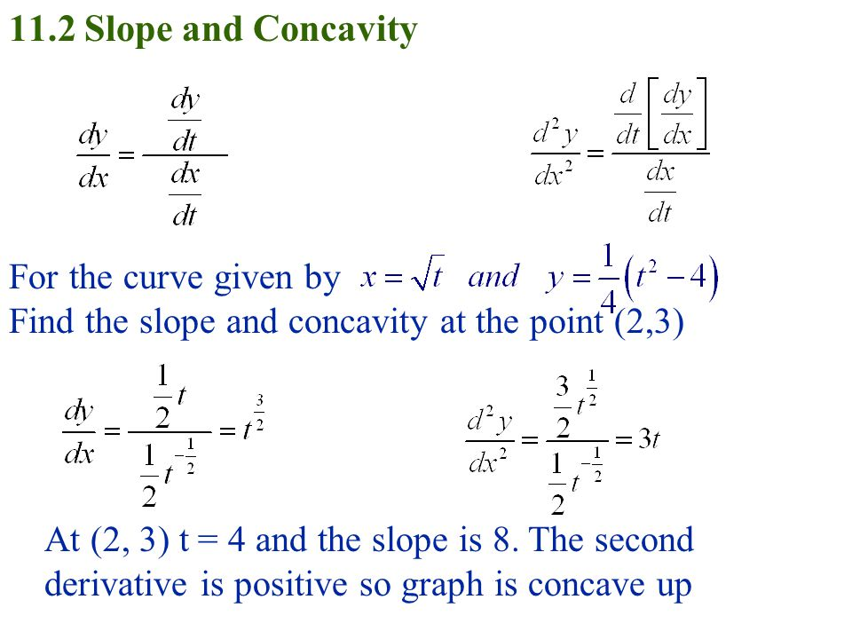 11.2 Slope and Concavity For the curve given by Find the slope and concavity at the point (2,3) At (2, 3) t = 4 and the slope is 8.