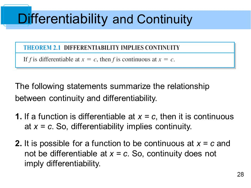 28 Differentiability and Continuity The following statements summarize the relationship between continuity and differentiability.