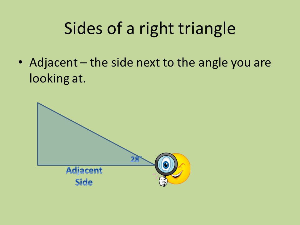 Sides of a right triangle Adjacent – the side next to the angle you are looking at.