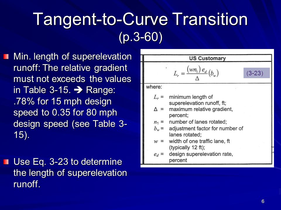 6 Tangent-to-Curve Transition (p.3-60) Min. length of superelevation runoff: The relative gradient must not exceeds the values in Table 3-15.  Range: