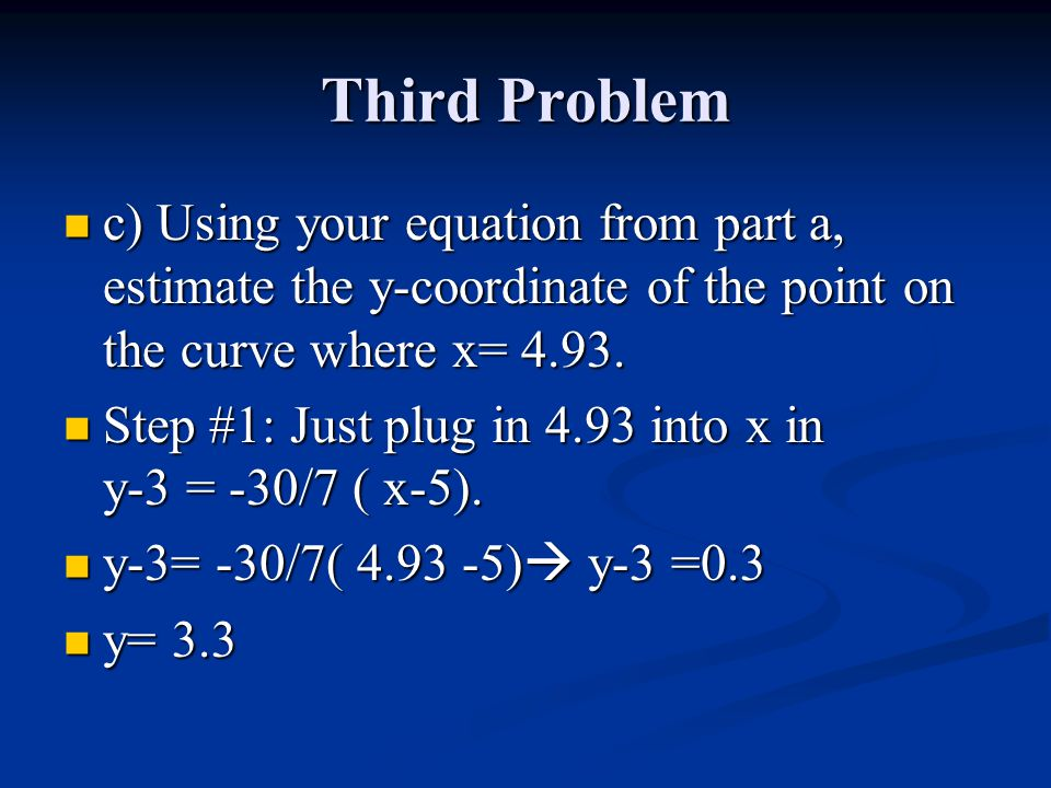 Third Problem c) Using your equation from part a, estimate the y-coordinate of the point on the curve where x= 4.93.