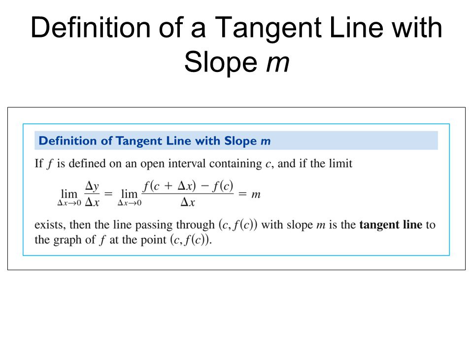 The Derivative of a Function Differentiation- the limit process is used to define the slope of a tangent line.