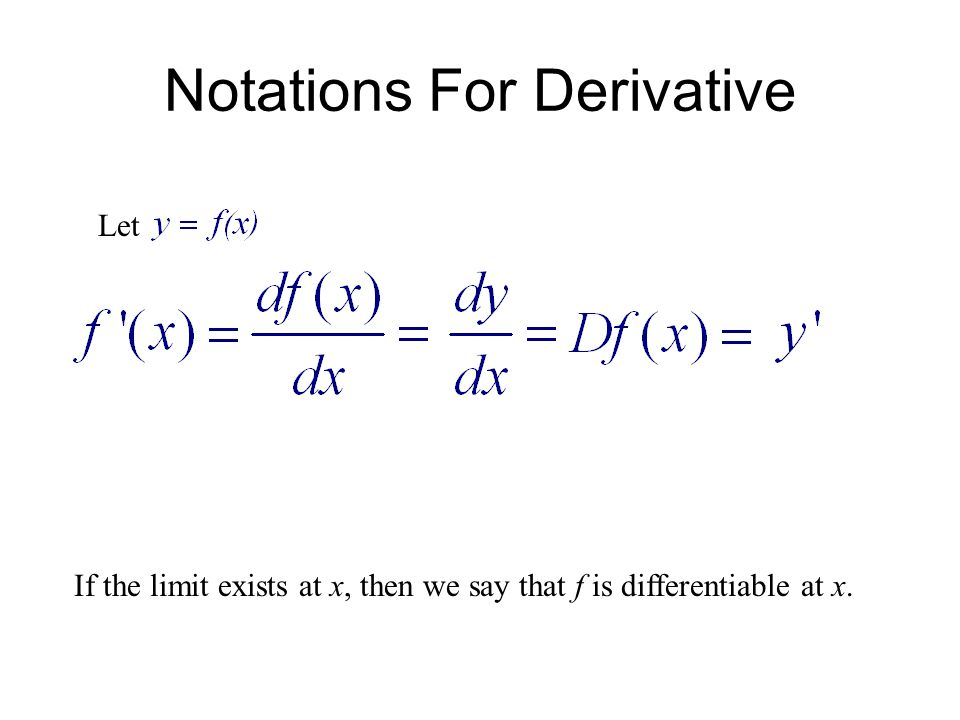 2.1 Differentiation Using Limits of Difference Quotients Where a Function is Not Differentiable: 3) A function f(x) is not differentiable at a point x = a, if it is not continuous at a.