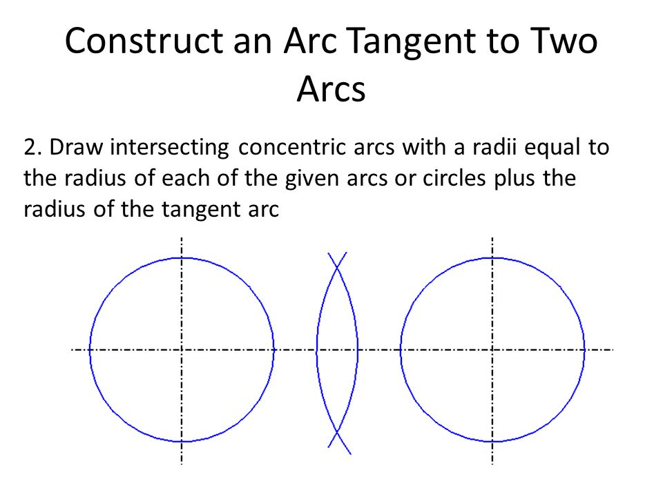 Construct an Arc Tangent to Two Arcs 2. Draw intersecting concentric arcs with a radii equal to the radius of each of the given arcs or circles plus t