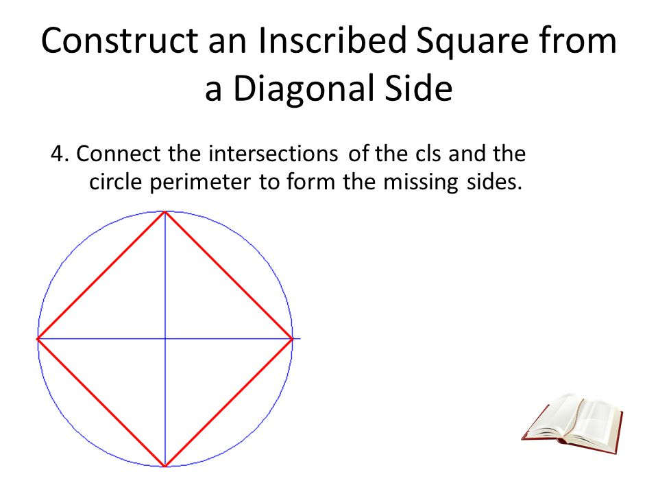 Construct an Inscribed Square from a Diagonal Side 4. Connect the intersections of the cls and the circle perimeter to form the missing sides.