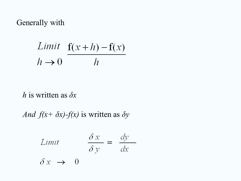 Generally with h is written as δx And f(x+ δx)-f(x) is written as δy