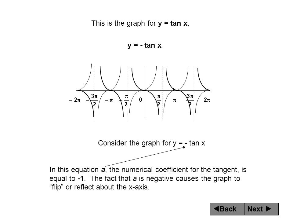 Next  Back This is the graph for y = tan x.