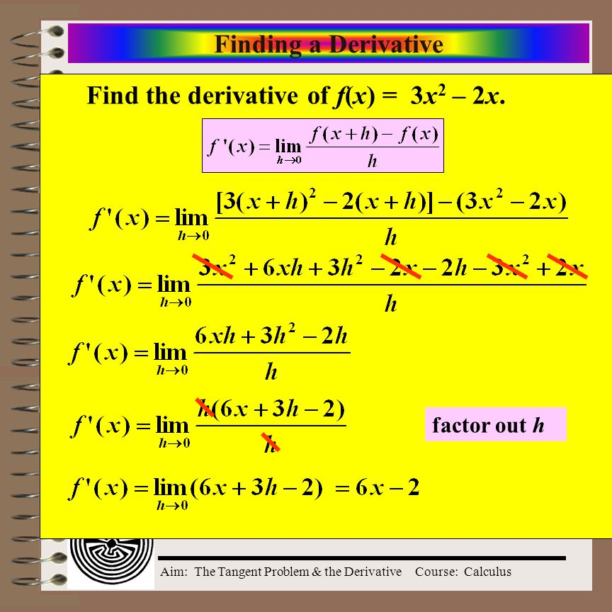 Aim: The Tangent Problem & the DerivativeCourse: Calculus Definition of the Derivative The derivative of f at x is provided this limit exists.