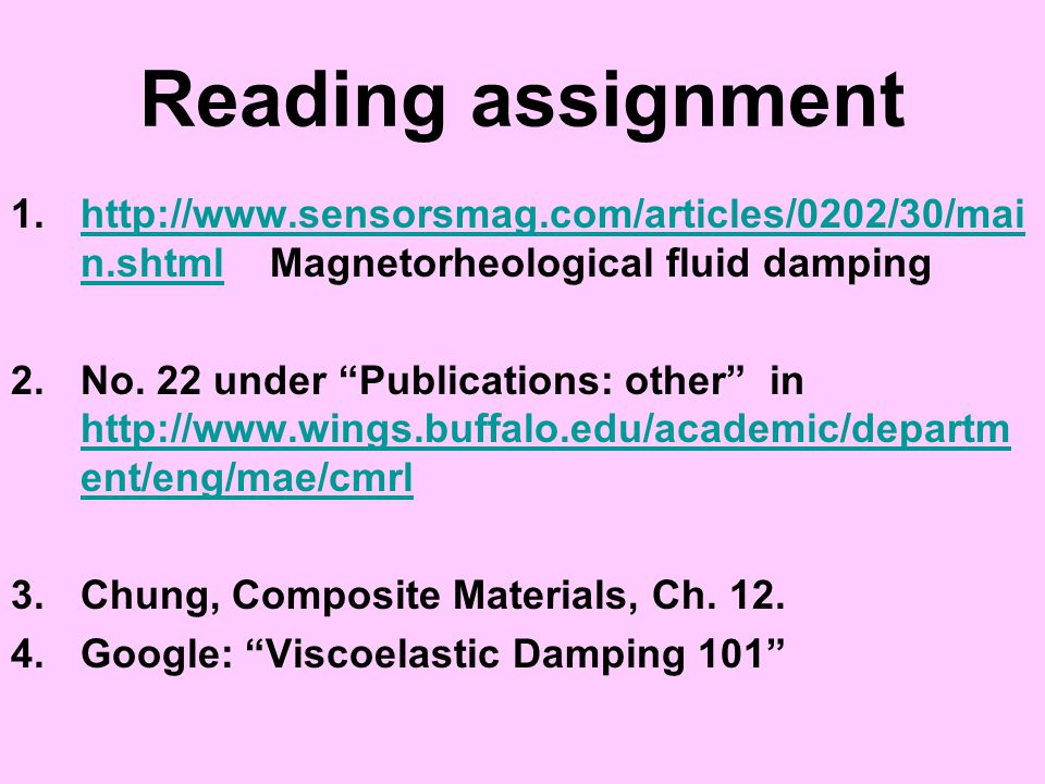 Reading assignment 1.http://www.sensorsmag.com/articles/0202/30/mai n.shtml Magnetorheological fluid dampinghttp://www.sensorsmag.com/articles/0202/30
