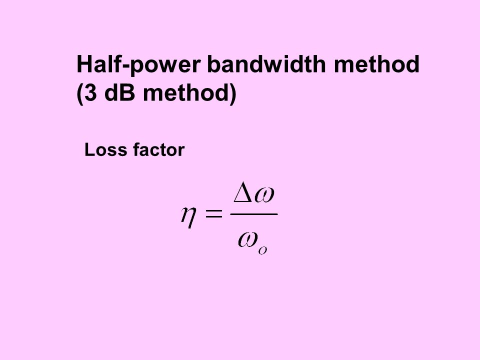 Half-power bandwidth method (3 dB method) Loss factor