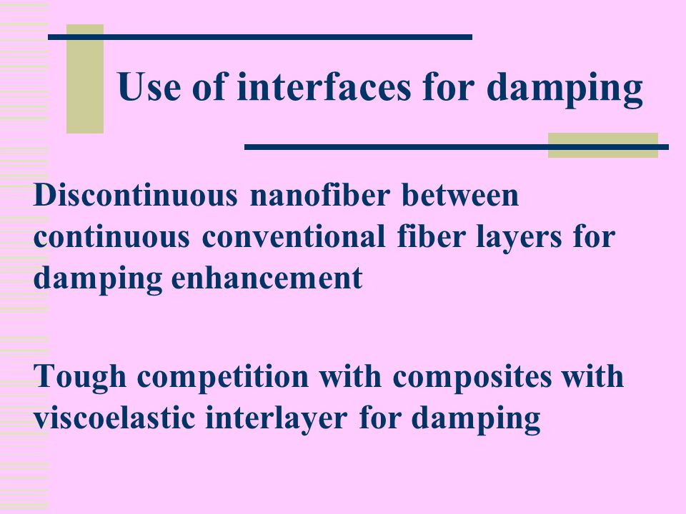Use of interfaces for damping Discontinuous nanofiber between continuous conventional fiber layers for damping enhancement Tough competition with composites with viscoelastic interlayer for damping