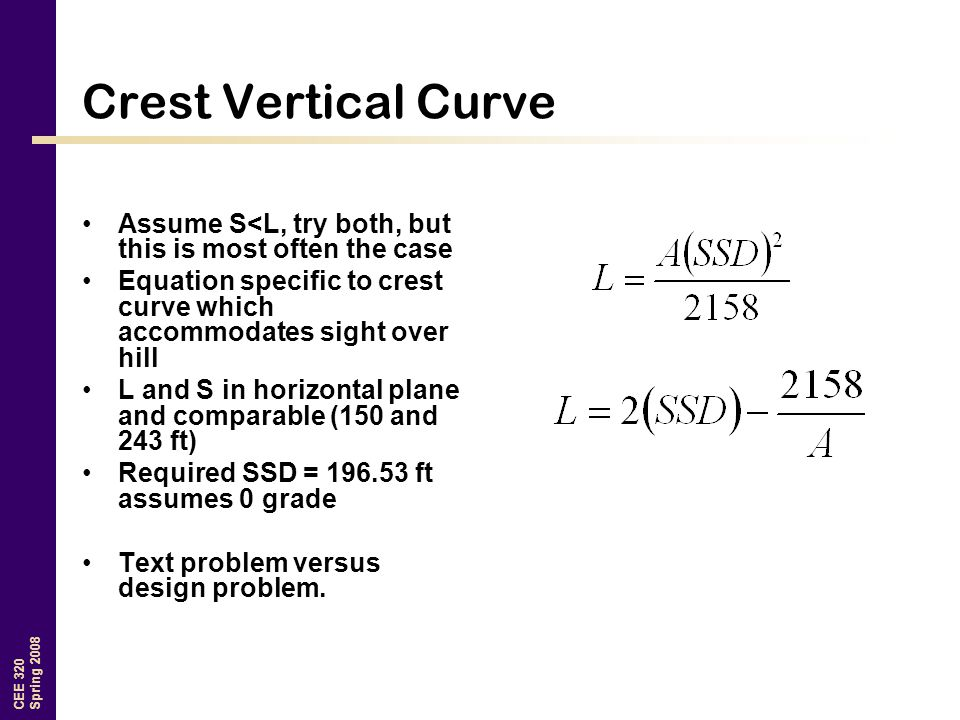 CEE 320 Spring 2008 Crest Vertical Curve Assume S<L, try both, but this is most often the case Equation specific to crest curve which accommodates sight over hill L and S in horizontal plane and comparable (150 and 243 ft) Required SSD = 196.53 ft assumes 0 grade Text problem versus design problem.