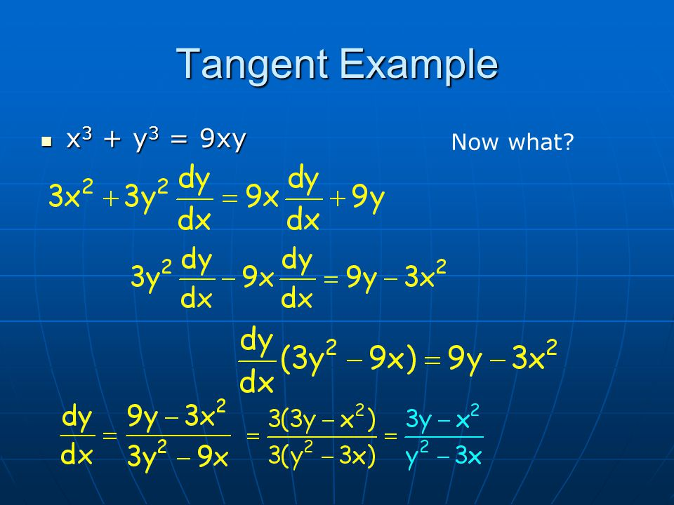 Tangent Example x 3 + y 3 = 9xy x 3 + y 3 = 9xy Now what?