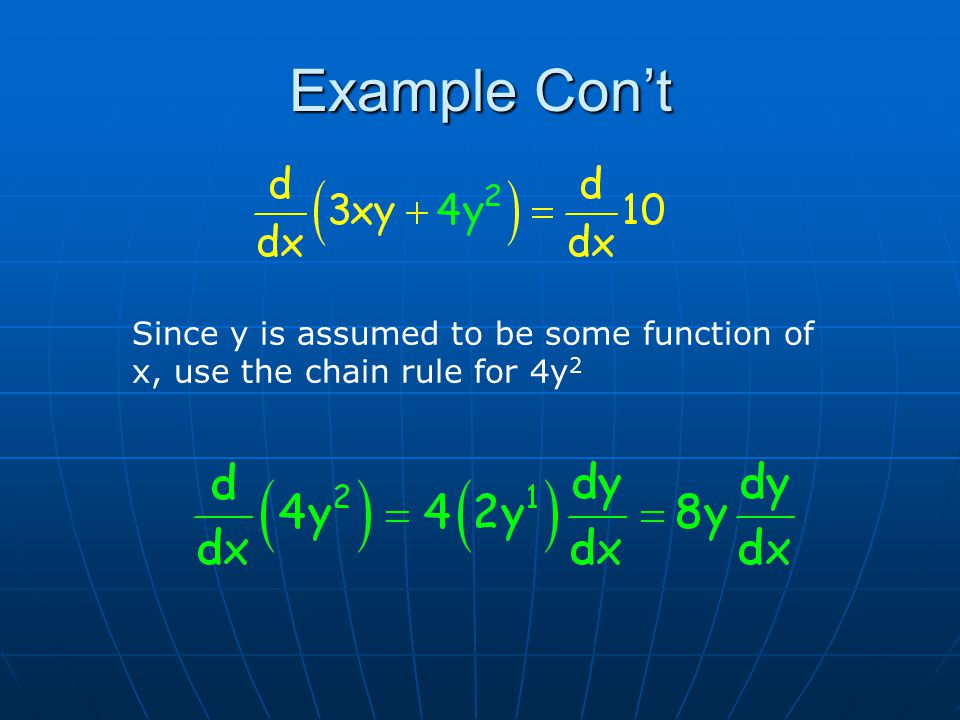 Example Con't Since y is assumed to be some function of x, use the chain rule for 4y 2