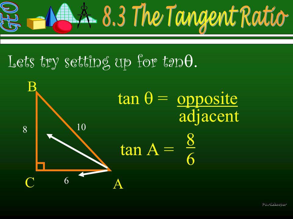  tan  = opposite  Pardekooper adjacent
