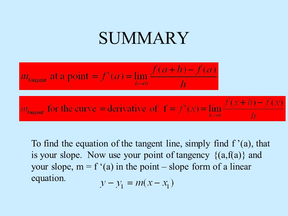 SUMMARY To find the equation of the tangent line, simply find f '(a), that is your slope.